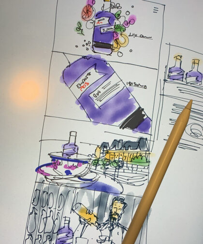 A sketched storyboard for a video.