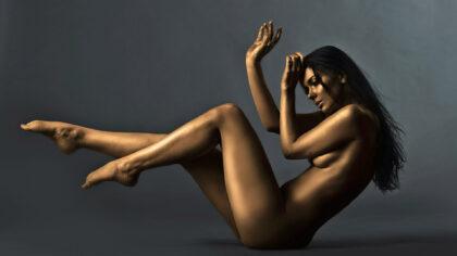 A model strikes a pose.