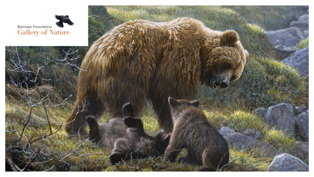 A painting of a bear with cubs.