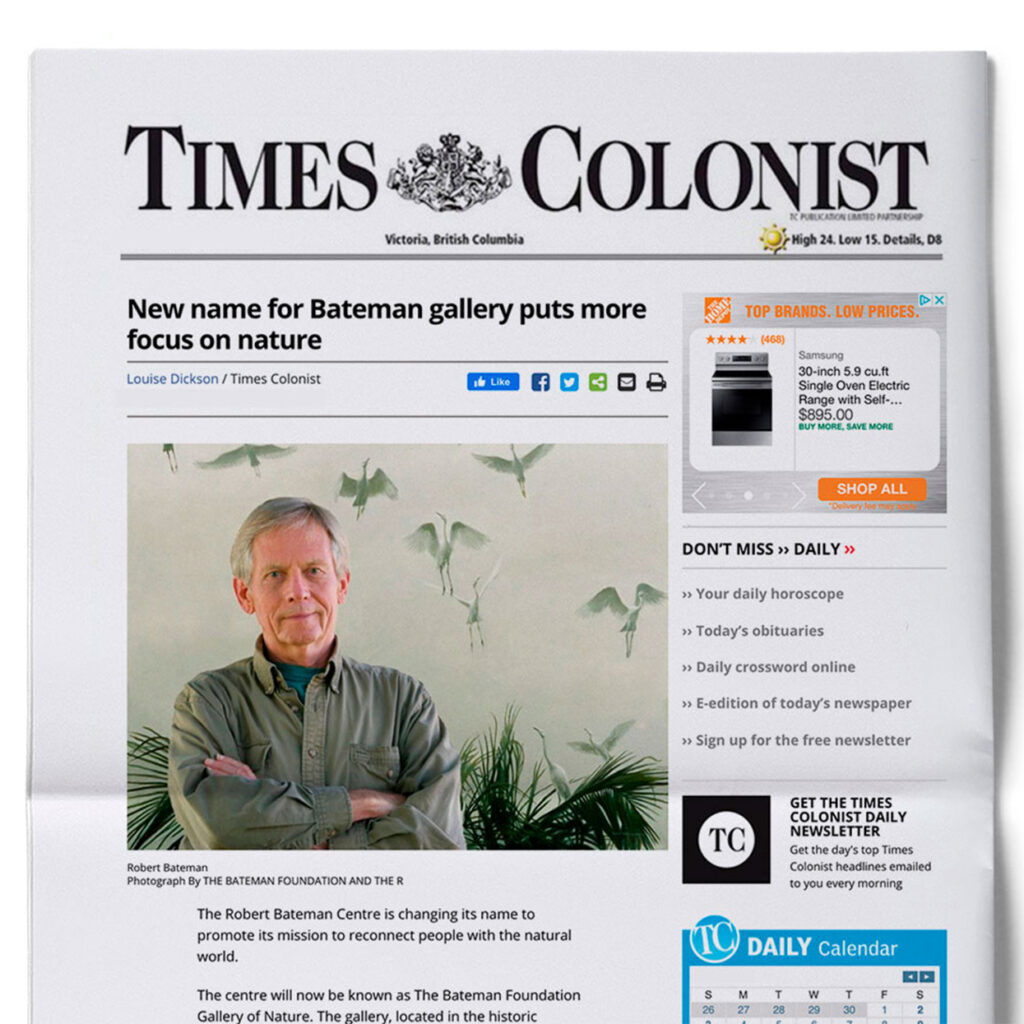 A photo of the front page of the Times Colonist newspaper. The headline reads: New name for Bateman gallery puts more focus on nature.