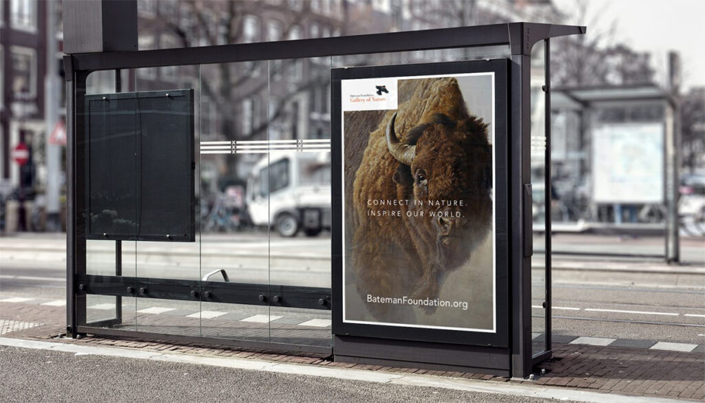A bus stop advertisement for The Bateman Foundation.