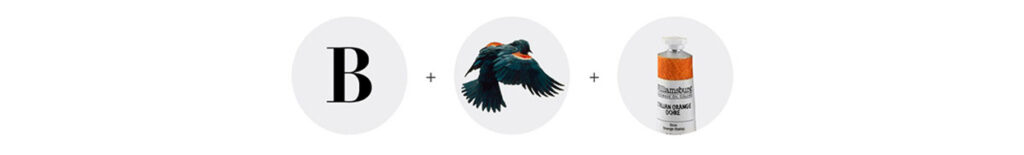 Three circles with images that encapsulate the Bateman Foundation: a big B, a bird in motion, and a tube of orange paint.