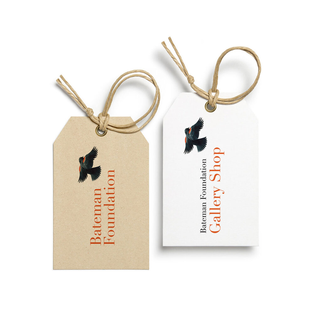 Two gift tags branded with The Bateman Foundation logo.