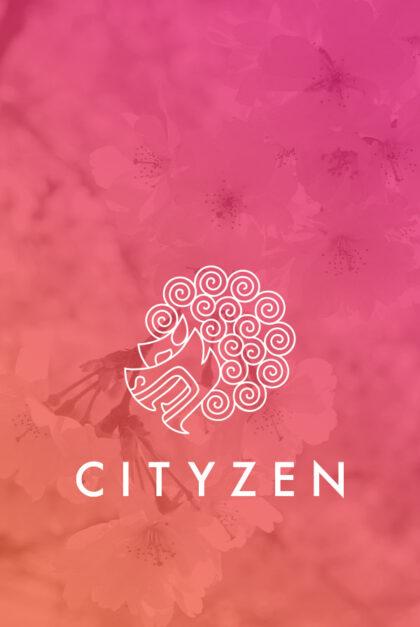 Cityen logo on flower backdrop