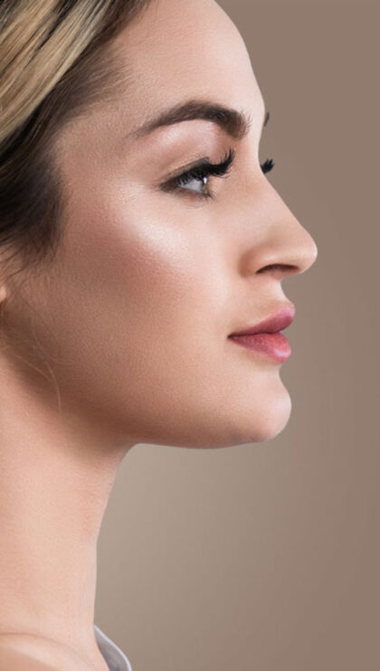 A profile shot of a model's face.