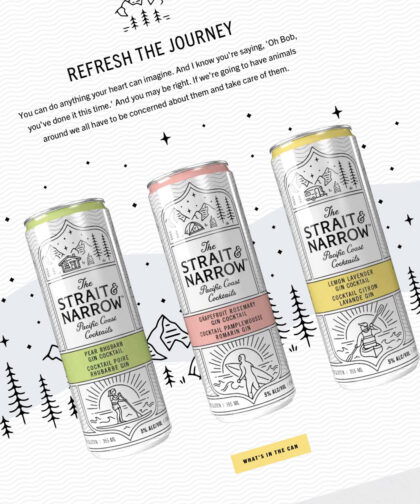 A shot of a website page featuring three Strait & Narrow drinks and hand-drawn illustrations of trees, mountains, and stars.