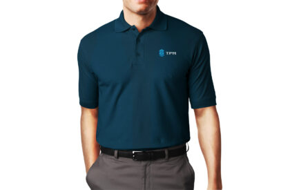 A man wearing a TPM-branded shirt.