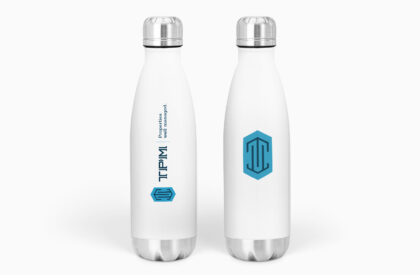 Two water bottles branded with TPM.