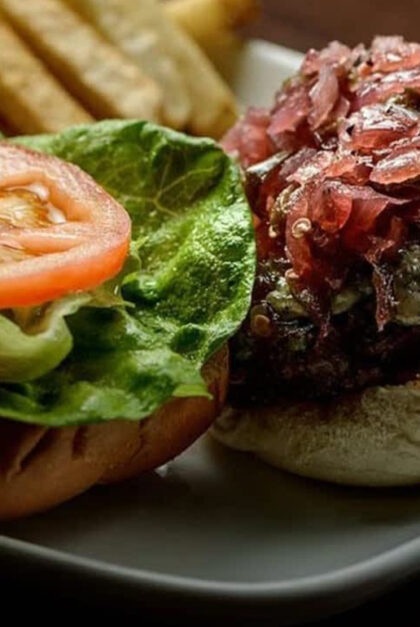 A close up of a burger.