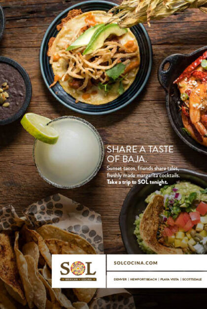 An ad for Sol Cocina featuring a drink and some dishes.