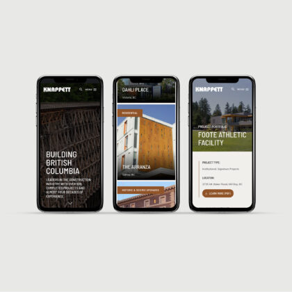 Three side-by-side mobile phones show the Knappett website