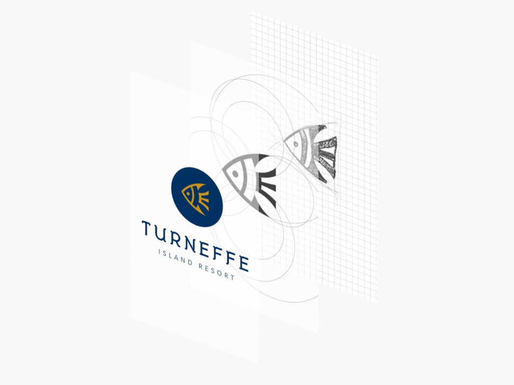 The Turneffe Island Resort logo in its final and rough sketch forms.