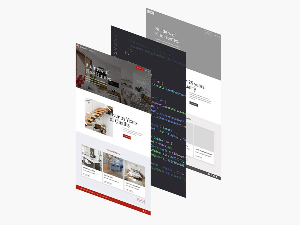 Three flat images are placed next to each other, depicting the website development process.
