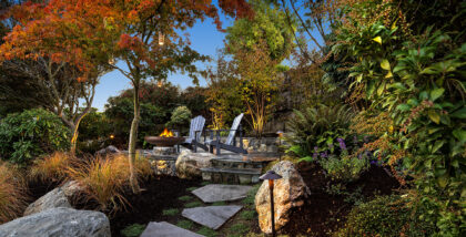 A shot of a landscaped patio and garden area